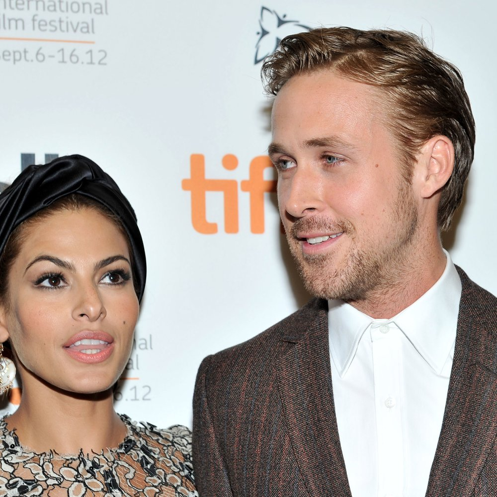 "TORONTO, ON - SEPTEMBER 07: Actors (L-R) Eva Mendes and Ryan Gosling attend ""The Place Beyond The Pines"" premiere during the 2012 Toronto International Film Festival at Princess of Wales Theatre on September 7, 2012 in Toronto, Canada. (Photo by Sonia Recchia/Getty Images)"