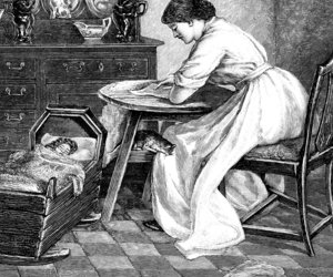 Women seated at table baby in crib from 1883 journal