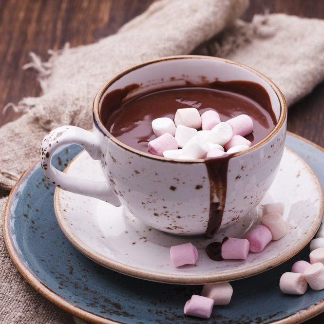 Hot chocolate with marshmallow.selective focus.