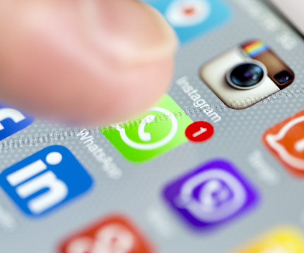 Istanbul, Turkey - September 18, 2015: Apple Iphone 6 screen with social media applications of Whatsapp, Facebook, Instagram, Viber, Linkedin, Tango, Perisfind and Snapchat.