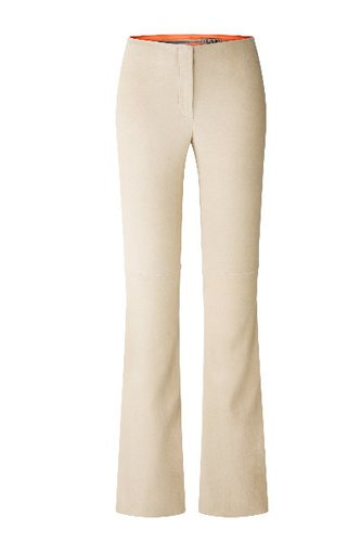 Cremefarbende velourslederhose mit tiefsitzendem Bund und ausgestelltem Bein