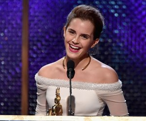 BEVERLY HILLS, CA - OCTOBER 30: Honoree Emma Watson accepts the Britannia Award for British Artist of the Year Presented by Burberry onstage during the BAFTA Los Angeles Jaguar Britannia Awards presented by BBC America and United Airlines at The Beverly Hilton Hotel on October 30, 2014 in Beverly Hills, California. (Photo by Kevin Winter/Getty Images)