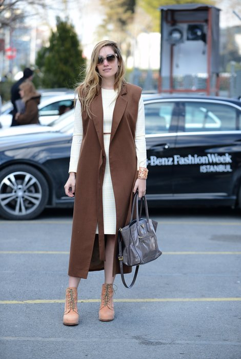 ISTANBUL, TURKEY - MARCH 18: Ece Salici poses wearing of her own design by Ece Salici, sunglasses and hand bag by Prada, shoes by Alexander Wang during Mercedes Benz Fashion Week Istanbul FW15 on March 18, 2015 in Istanbul, Turkey. (Photo by Levent Kulu/Getty Images For IMG)