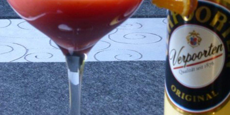 Orangen-Himbeereissmoothie mit Ingwer und Verpoorten