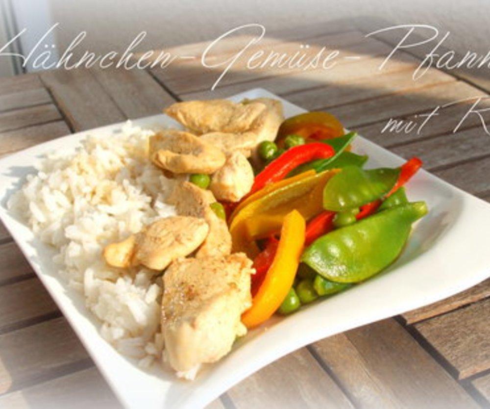 Hähnchen-Gemüse-Pfanne mit Reis