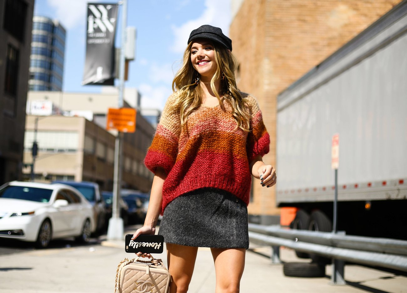 Blogger Katie Sands of Honestlykate posing on the street during New York Fashion Week in New York Ci