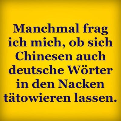 manchmal frag ich mich ob sich chinesen auch deutsche w rter in den nacken t towieren lassen. Black Bedroom Furniture Sets. Home Design Ideas