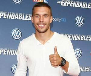 COLOGNE, GERMANY - AUGUST 06: Lukas Podolski attends the German premiere of the film 'The Expendables 3' at Residenz Kino on August 6, 2014 in Cologne, Germany. (Photo by Andreas Rentz/Getty Images)