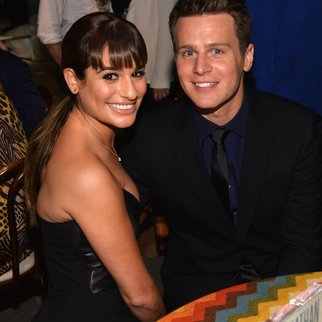 "HOLLYWOOD, CA - JANUARY 15: Actors Lea Michele and Jonathan Groff attend the after party for the premiere of HBO's ""Looking"" at Paramount Studios on January 15, 2014 in Hollywood, California. (Photo by Alberto E. Rodriguez/Getty Images)"