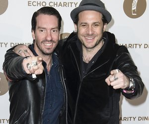 BERLIN, GERMANY - MARCH 26: Sascha Vollmer (R) and Alec Voelkel of the Band Boss Hoss attend the Echo Award 2014 Charity Dinner on March 26, 2014 in Berlin, Germany. (Photo by Clemens Bilan/Getty Images)