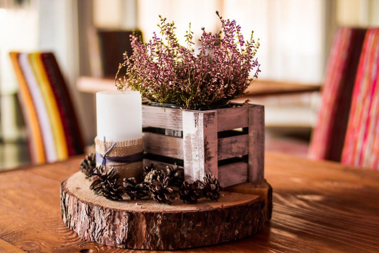 Heidekraut Kiste Herbstdeko