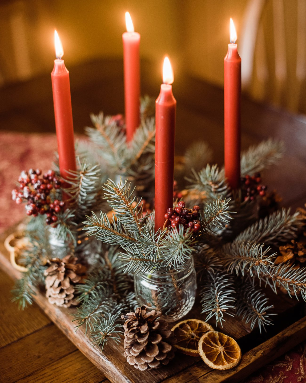 Adventsgesteck selber machen Einmachgläser
