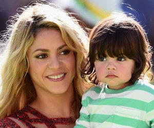 RIO DE JANEIRO, BRAZIL - JULY 13: Singer Shakira and son Milan Pique look on during the closing ceremony prior to the 2014 FIFA World Cup Brazil Final match between Germany and Argentina at Maracana on July 13, 2014 in Rio de Janeiro, Brazil. (Photo by Matthias Hangst/Getty Images)